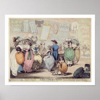 A loja de um Milliner, publicada em 1787 (coloure  Poster
