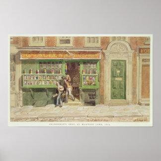 A loja do Colourman, a pista de St Martin, 1829 Poster
