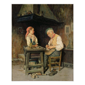 A loja do sapateiro, 1874 (óleo no painel) poster