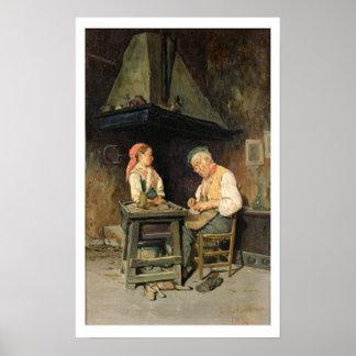 A loja do sapateiro, 1874 (óleo no painel) pôsteres