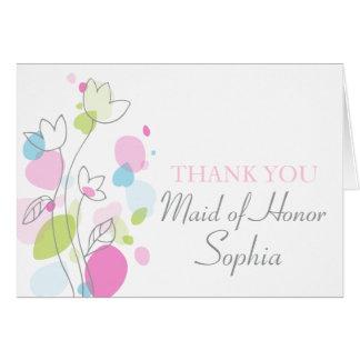 A madrinha de casamento floral gráfica do cartão de nota
