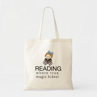A mágica da leitura bolsas de lona