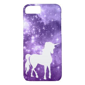 A mágica roxa cósmica Stars o unicórnio branco Capa iPhone 7