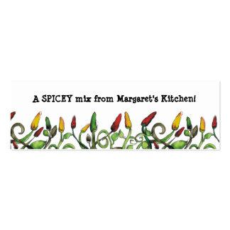 a malagueta picante do doodle do hippie salpica o cartão de visita skinny