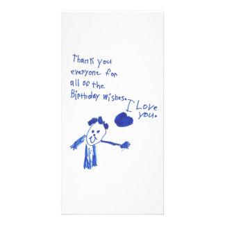A maneira de uma criança de dizer o obrigado você cartão com foto