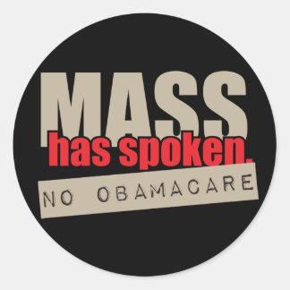 A massa falou - nenhum ObamaCare Adesivo Redondo