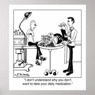 A medicamentação diária é tamanho de uma bola de b poster