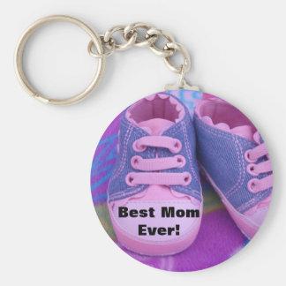 A melhor mamã nunca! Os calçados de bebê cor-de-ro Chaveiros