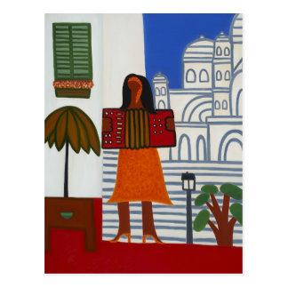 A menina aciganada na frente de Sacre Coeur 2006 Cartão Postal