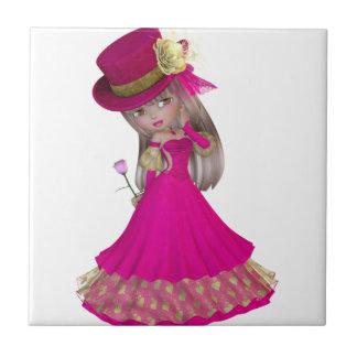 A menina loura que guardara um cor-de-rosa aumento azulejos de cerâmica