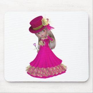 A menina loura que guardara um cor-de-rosa aumento mouse pad