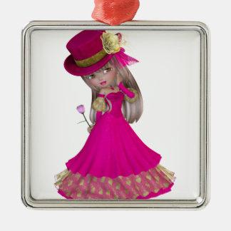 A menina loura que guardara um cor-de-rosa enfeites para arvore de natal