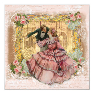 A menina no vestido Ruffled rosa Convites Personalizado