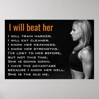 A mulher do Gym Muscles a motivação do exercício Póster