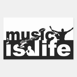 A música é etiquetas da vida adesivo retangular