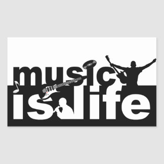 A música é etiquetas da vida adesivos em formato retangulares