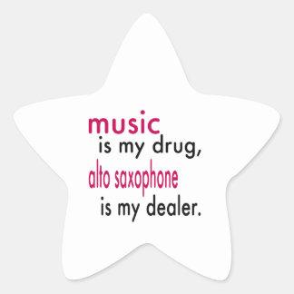 A música é minha droga alto que o saxofone é meu adesivo estrela