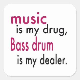 A música é minha droga bombo é meu negociante adesivo em forma quadrada
