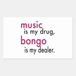 A música é minha droga bongos é meu negociante adesivos retangulares