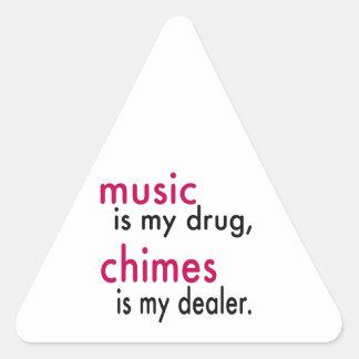 A música é minha droga carrilhões é meu adesivos triângulo
