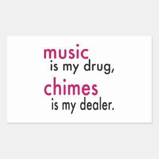 A música é minha droga carrilhões é meu adesivos retangulares