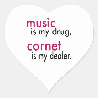 A música é minha droga cartucho é meu negociante adesivo em forma de coração
