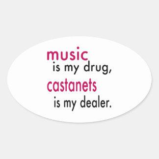 A música é minha droga, Castanets é meu negociante Adesivos Oval
