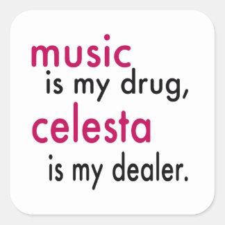 A música é minha droga, celesta é meu negociante adesivo em forma quadrada