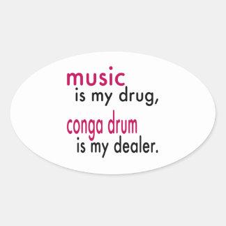 A música é minha droga cilindro do conga é meu adesivos oval