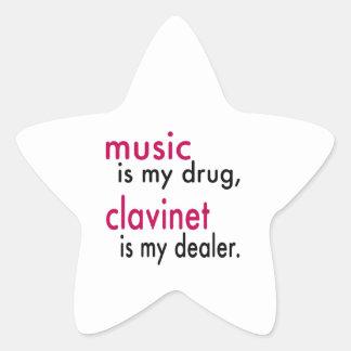 A música é minha droga Clavinet é meu negociante Adesivo Em Forma De Estrela