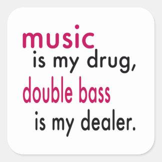 A música é minha droga contrabaixo é meu adesivo em forma quadrada