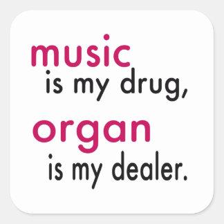 A música é minha droga, órgão é meu negociante adesivos quadrados