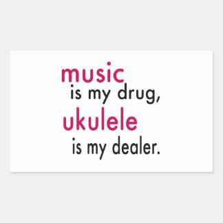 A música é minha droga, Ukulele é meu negociante Adesivo Retangular