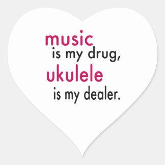 A música é minha droga, Ukulele é meu negociante Adesivo De Coração
