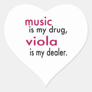 A música é minha droga, viola é meu negociante adesivos em forma de corações