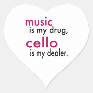 A música é minha droga violoncelo é meu adesivo em forma de coração