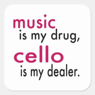A música é minha droga violoncelo é meu adesivo em forma quadrada