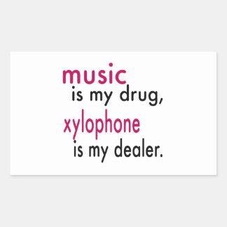 A música é minha droga, xilofone é meu negociante adesivos em formato retangulares