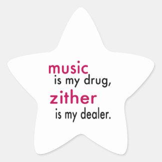 A música é minha droga, Zither é meu negociante Adesivos Estrelas