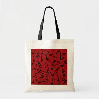 A música preta vermelha nota o saco sacola tote budget