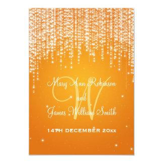 A noite de casamento elegante brilha a laranja convite 12.7 x 17.78cm