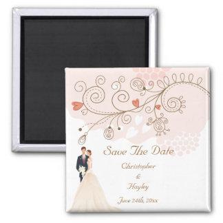 A noiva & as flores & os corações do noivo salvar  ímã quadrado