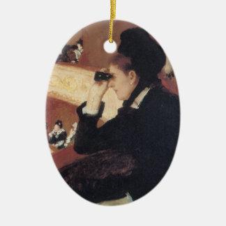 A ópera por Mary Cassatt, impressionismo do Ornamento De Cerâmica Oval