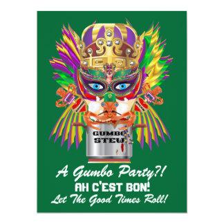 """A opinião da rainha do Gumbo do carnaval sugere Convite 16.51"""" X 22.22cm"""