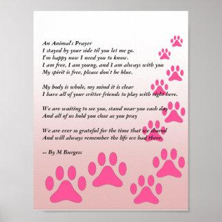 A oração de um animal pôster