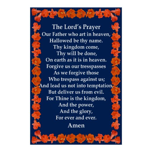 A Oração do senhor em um quadro da romã Impressão