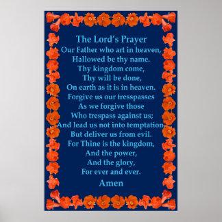 A Oração do senhor em um quadro da romã Pôsteres