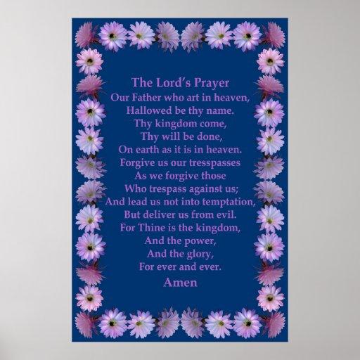 A Oração do senhor em um quadro do cacto de Nightb Posteres