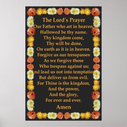 A Oração do senhor em um quadro do cacto de tambor Poster