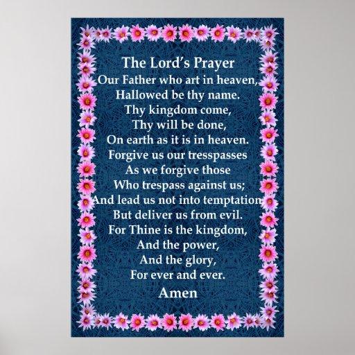 A Oração do senhor em um quadro do cacto do Pincus Poster